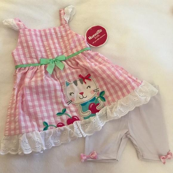 Nannette 2 piece Gingham Cat & Cherries Set